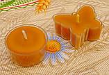 Восковая чайная свеча Бабочка (мотылек) в пластиковом прозрачном контейнере; натурального пчелиный воск, фото 6