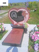 Елітний пам'ятник комплекс у вигляді великого серця з хрестом із граніту