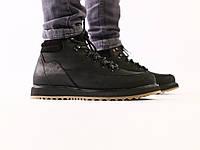 Мужские черные зимние ботинки из нубука, на шнуровке