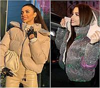 Женская блестящая дутая куртка с капюшоном 2282
