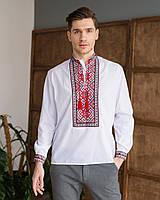 Українська чоловіча вишиванка MEREZHKA з червоним орнаментом 44 розмір по коміру
