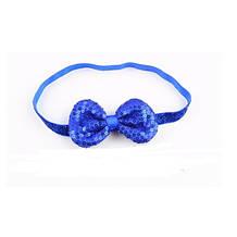 Детская синяя повязка с пайетками - бант 9*5см, окружность 38-50см