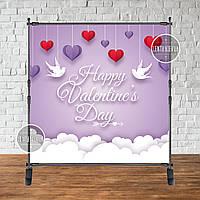 """Банер для святкової фотозоны """"Happy valentine's Day (сердечка)"""" 2х2"""