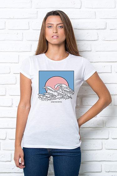 Футболка женская с принтом Волны на закате