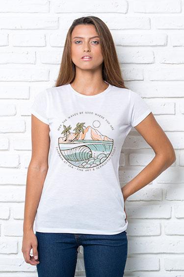 """Футболка жіноча біла з принтом """"Острів"""" Жіноча футболка з принтом Острів"""
