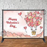 """Банер для святкової фотозоны """"Happy valentine's Day"""" 2х3"""