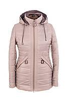 Удлиненная куртка женская демисезонная большого размера   50-60 бежевый