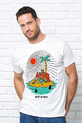 Футболка мужская с принтом  скелет на острове Чоловіча футболка з принтом Острів