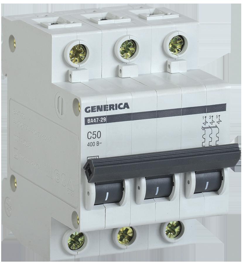 Автоматический выключатель ВА47-29 3Р 50А 4,5кА х-ка С GENERICA (5 лет гарантии)