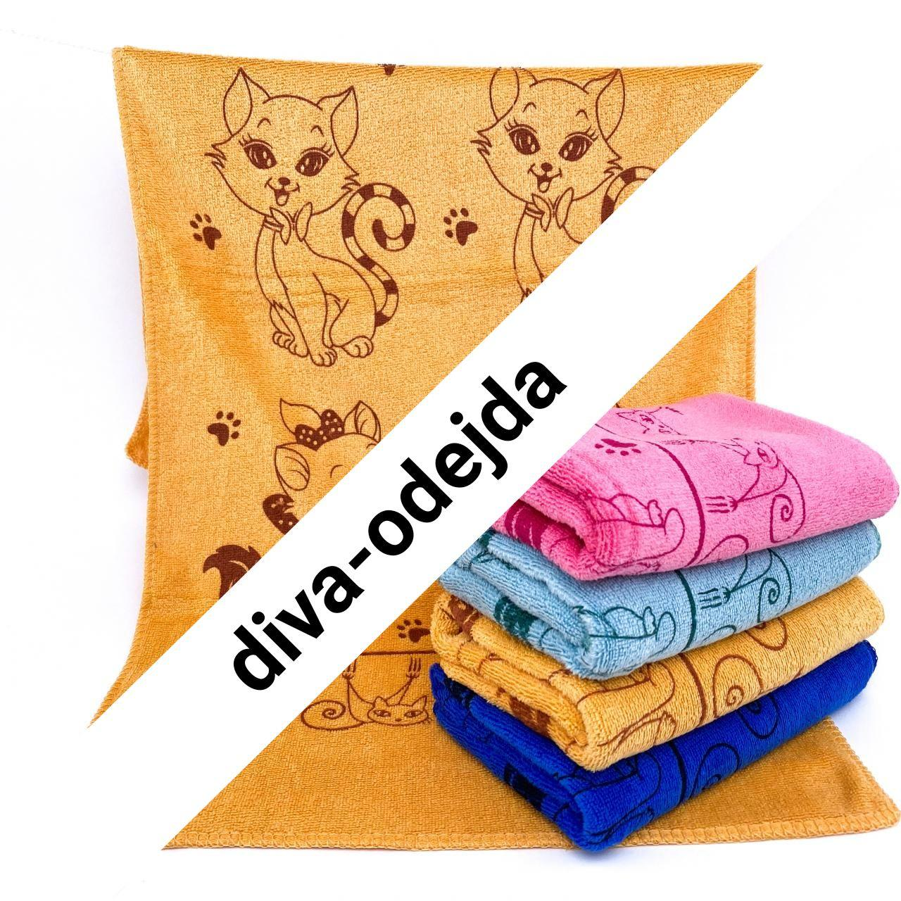 Стильное кухонное полотенце с котиками.Размер :0,35 x 0,75