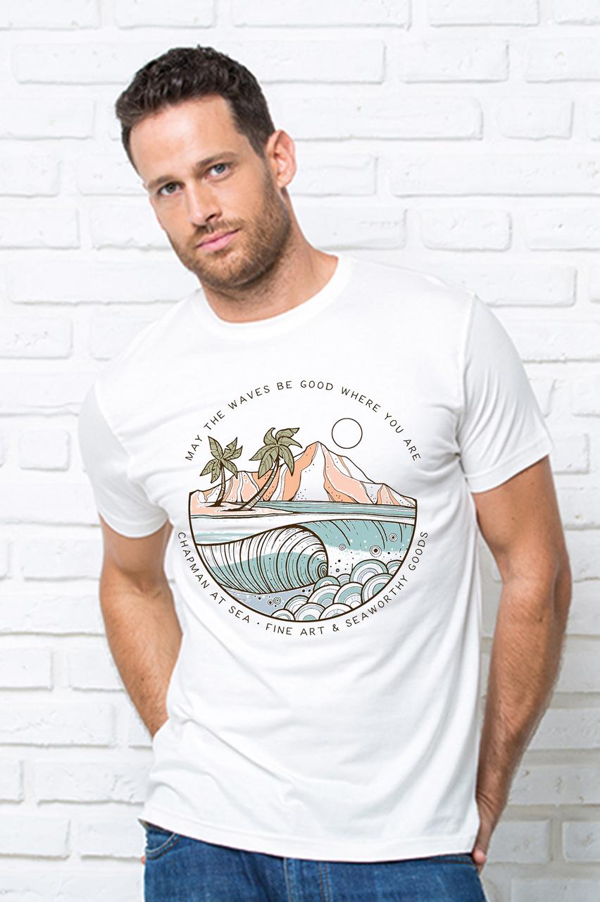 """Футболка чоловіча біла з принтом """"Море"""" Чоловіча футболка з принтом Море"""