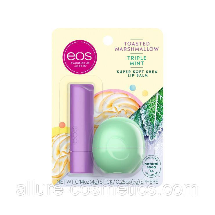 EOS Набор бальзамов для губ  toasted marshmallow and triple mint
