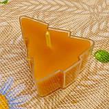 Восковая чайная свеча Ёлочка в пластиковом прозрачном контейнере; натурального пчелиный воск, фото 4