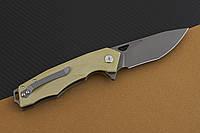 Складной ножToucan с  массивным «клювом» клинка оригинальной формы, бежевого цвета, фото 1