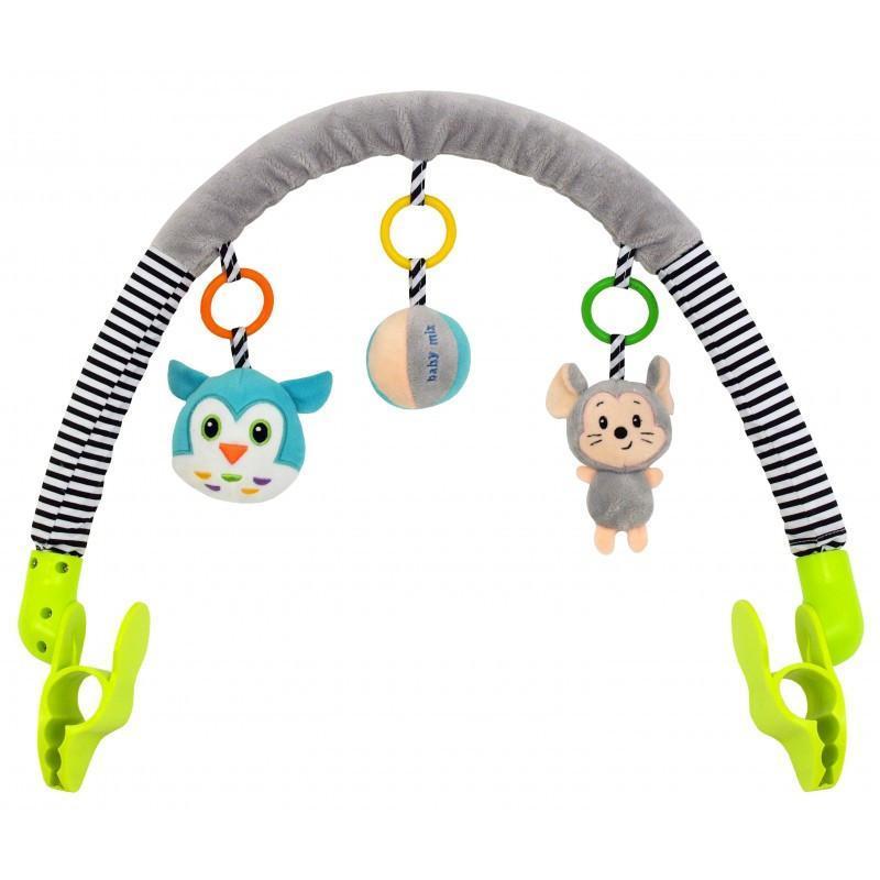 Детская игрушка дуга для коляски Baby mix TE-8544-94 мышонок и сова, 36х33х7 см. (9324)