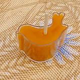 Восковая чайная свеча Птичка в пластиковом прозрачном контейнере; натуральный пчелиный воск, фото 5