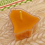 Воскова чайна свічка Дзвіночок в пластиковому прозорому контейнері; натуральний бджолиний віск, фото 3