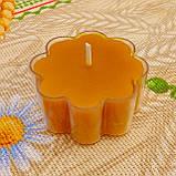 Восковая чайная свеча Цветок 30г в пластиковом прозрачном контейнере; натурального пчелиный воск, фото 2
