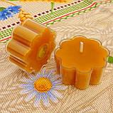 Восковая чайная свеча Цветок 30г в пластиковом прозрачном контейнере; натурального пчелиный воск, фото 3