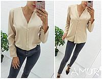 Рубашка женская молодежная большие размеры креп-шифон СЕР2 1519, фото 1