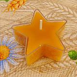 Восковая чайная свеча Звезда 26г в пластиковом прозрачном контейнере; натурального пчелиный воск, фото 3