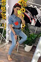 Джинсовый комбинезон женский Louis Vuitton, стильный, обьемного стиля, 211-0625