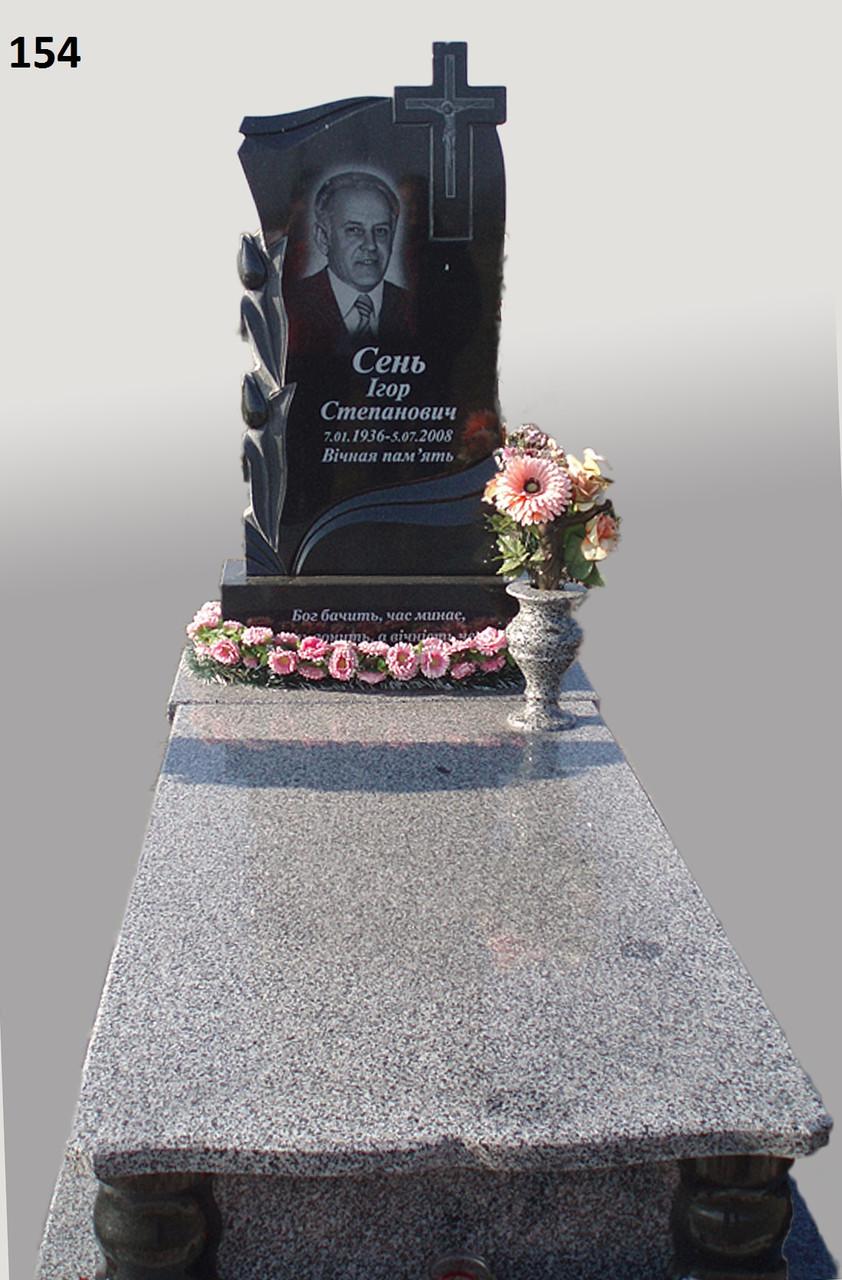 Одинарний пам'ятник комплекс з сірого граніту на могилу