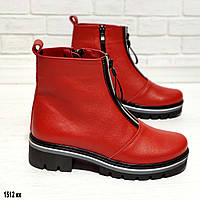 Кожаные красные женские ботиночки