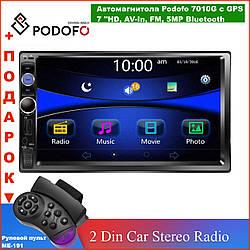 """Автомагнітола Podofo 2 din 7010G з GPS мультимедійний плеєр 7 """"HD сенсорний екран, AV-In, стерео Bluetooth 5MP"""