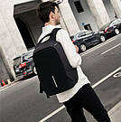 Городской рюкзак антивор под ноутбук Бобби Bobby с USB / с защитой от краж Черный реплика, фото 2