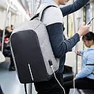 Рюкзак міський протикрадій Боббі Bobby з USB сірий / захист від крадіжок, водовідштовхувальний, репліка, фото 2