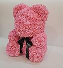 Мишка 40 см с коробкой из 3D фоамирановых роз Teddy de Luxe / искусственных цветов 3д, пенопласт Тедди розовый, фото 2