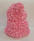 Мишка 40 см с коробкой из 3D фоамирановых роз Teddy de Luxe / искусственных цветов 3д, пенопласт Тедди розовый, фото 6