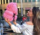 Мишка 40 см с коробкой из 3D фоамирановых роз Teddy de Luxe / искусственных цветов 3д, пенопласт Тедди розовый, фото 10
