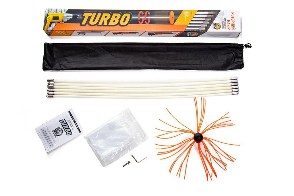 Роторный набор для чистки дымоходов TURBO (1 м х 7 шт)