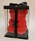 Мишка 25 см с коробкой из 3D фоамирановых роз Teddy de Luxe / искусственных цветов 3д, пенопласт Тедди красный, фото 4