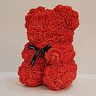 Мишка 25 см с коробкой из 3D фоамирановых роз Teddy de Luxe / искусственных цветов 3д, пенопласт Тедди красный, фото 5