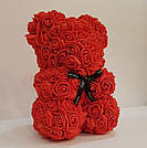 Мишка 25 см с коробкой из 3D фоамирановых роз Teddy de Luxe / искусственных цветов 3д, пенопласт Тедди красный, фото 7