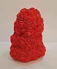 Мишка 25 см с коробкой из 3D фоамирановых роз Teddy de Luxe / искусственных цветов 3д, пенопласт Тедди красный, фото 8