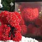 Мишка 25 см с коробкой из 3D фоамирановых роз Teddy de Luxe / искусственных цветов 3д, пенопласт Тедди красный, фото 9