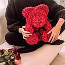 Мишка 25 см с коробкой из 3D фоамирановых роз Teddy de Luxe / искусственных цветов 3д, пенопласт Тедди красный, фото 10