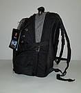 Швейцарский рюкзак WENGER SwissGear 6621 черно-серый с дождевиком, USB-кабелем, разъёмом под наушники реплика, фото 3