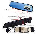 Автомобильное зеркало видеорегистратор для машины на 2 камеры VEHICLE BLACKBOX DVR 1080p камерой заднего вида, фото 7