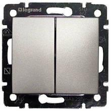 Выключатель 2 кл. проходной Алюминий 770108 Legrand Valena
