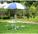 Посилений туристичний розкладний стіл SunRise для пікніка переносний з 4 стільцями валізу Folding Table, фото 8