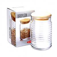 Банка для сыпучих продуктов с деревянной крышкой Pasabahce Бабилон 1,12 л 43173