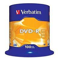 Диск DVD-R Verbatim (43549) 4.7GB, 16x, Cake Box, 100шт Silver
