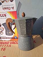 Кофеварка гейзерная, на 6 чашек алюминий мраморное покрытие, фото 1