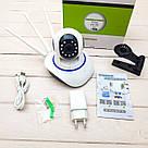 Бездротова поворотна Wi-Fi IP-Камера відеоспостереження Onvif 720HD 355° Відеокамера з мікрофоном на 3 антени, фото 9