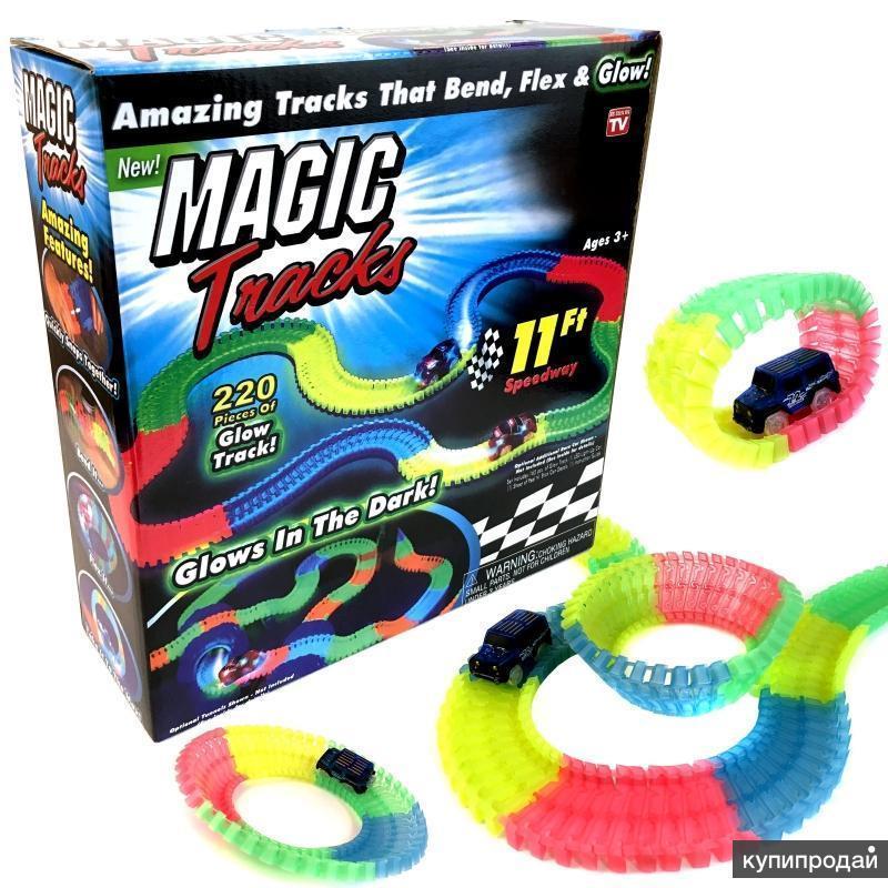 Светящаяся дорога Magic Tracks Меджик трек 2 машинки джип внедорожник 220 деталей (3,2 м)